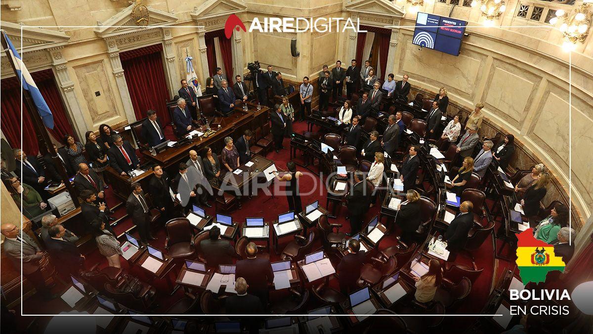 El Senado declaró su repudio al golpe de estado en Bolivia y hubo un gesto del oficialismo para evitar la caída de la sesión