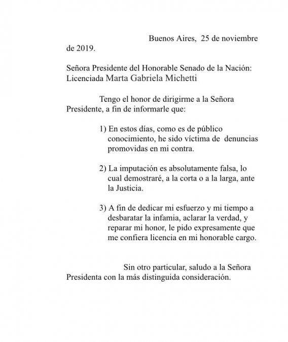 La carta que José Alperovich envió a Gabriela Michetti, presidente del Senado.
