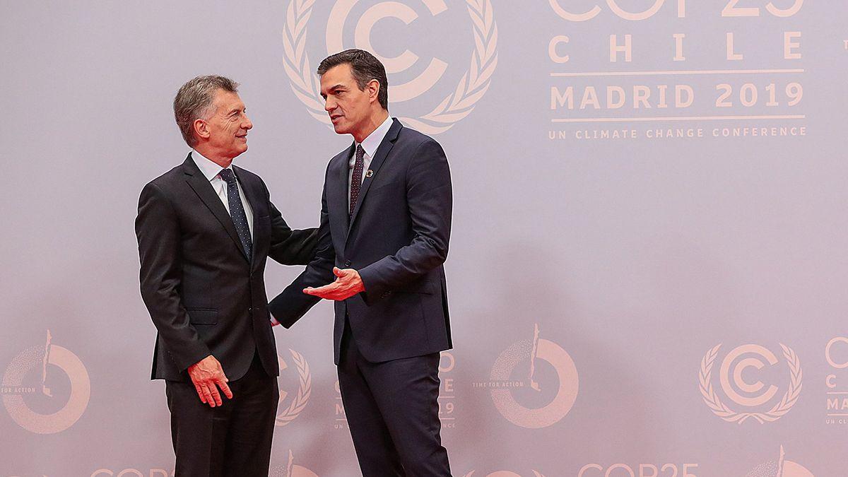 Macri y Sánchezen la Convención Marco de las Naciones Unidas sobre Cambio Climático. Diciembre 2019.