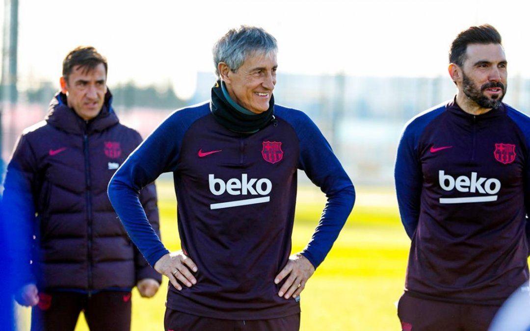 El primer entrenamiento de Quique Setién como DT de Messi