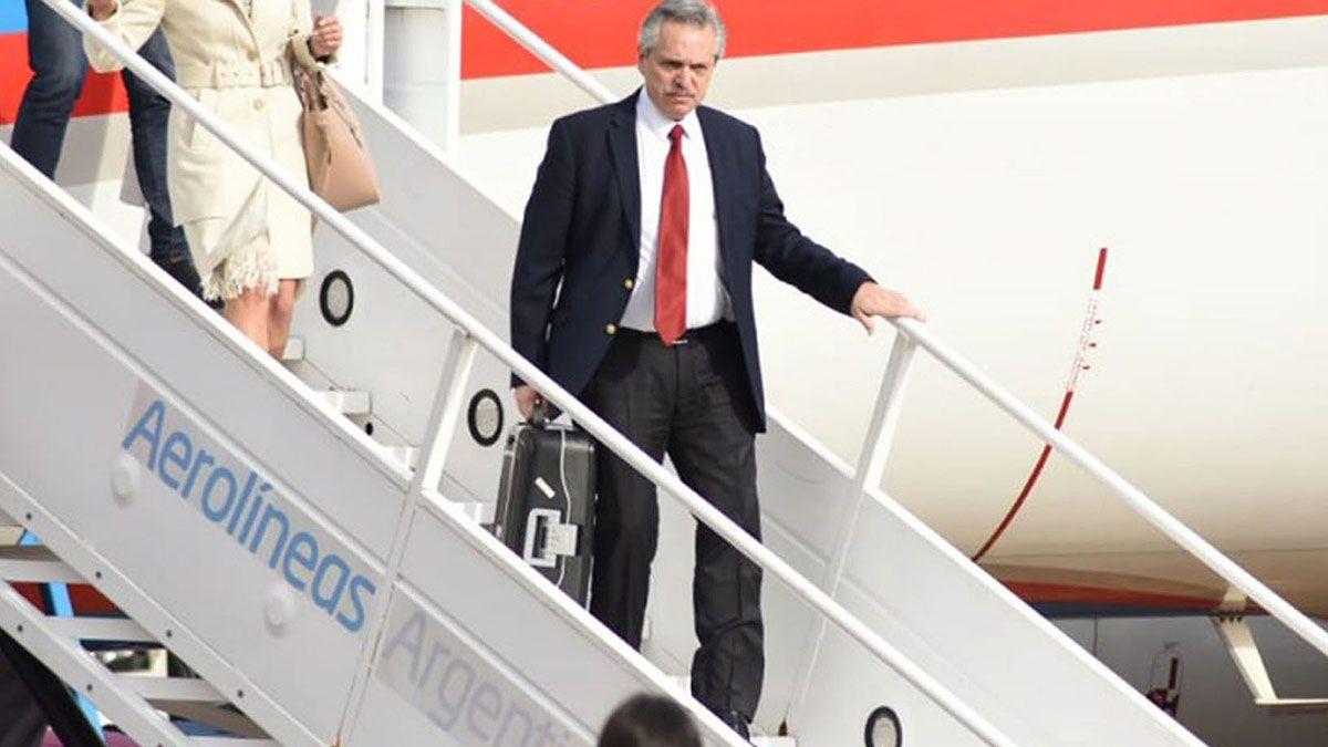 Alberto Fernández durante un viaje a Madrid