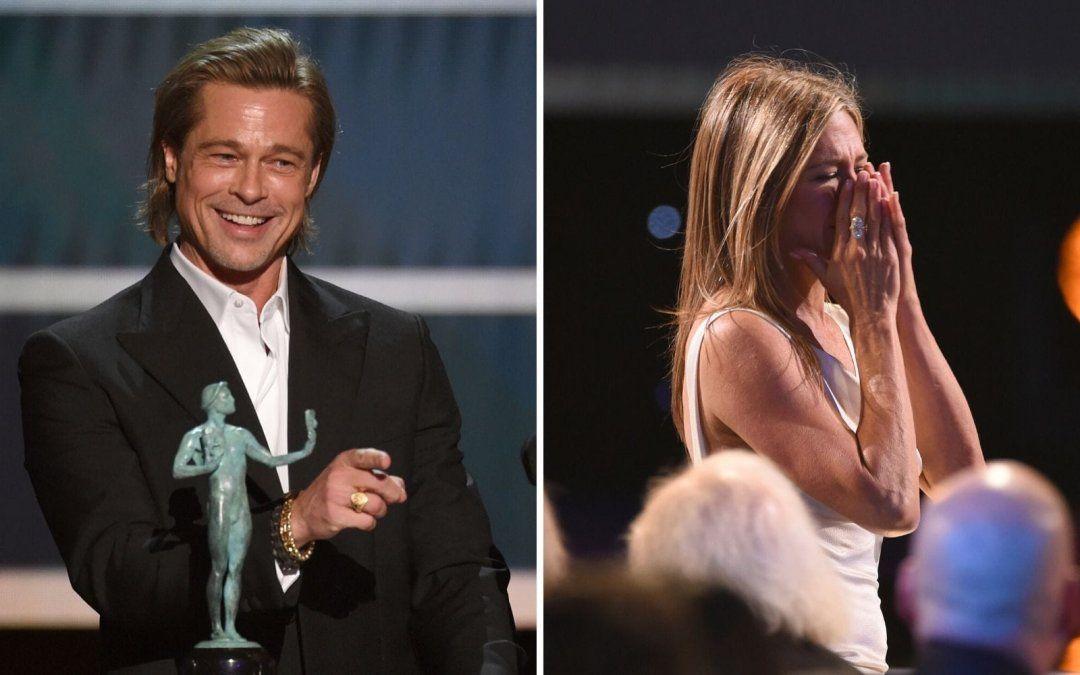 Miradita indiscreta y video viral: así fue el reencuentro entre Brad Pitt y Jennifer Aniston