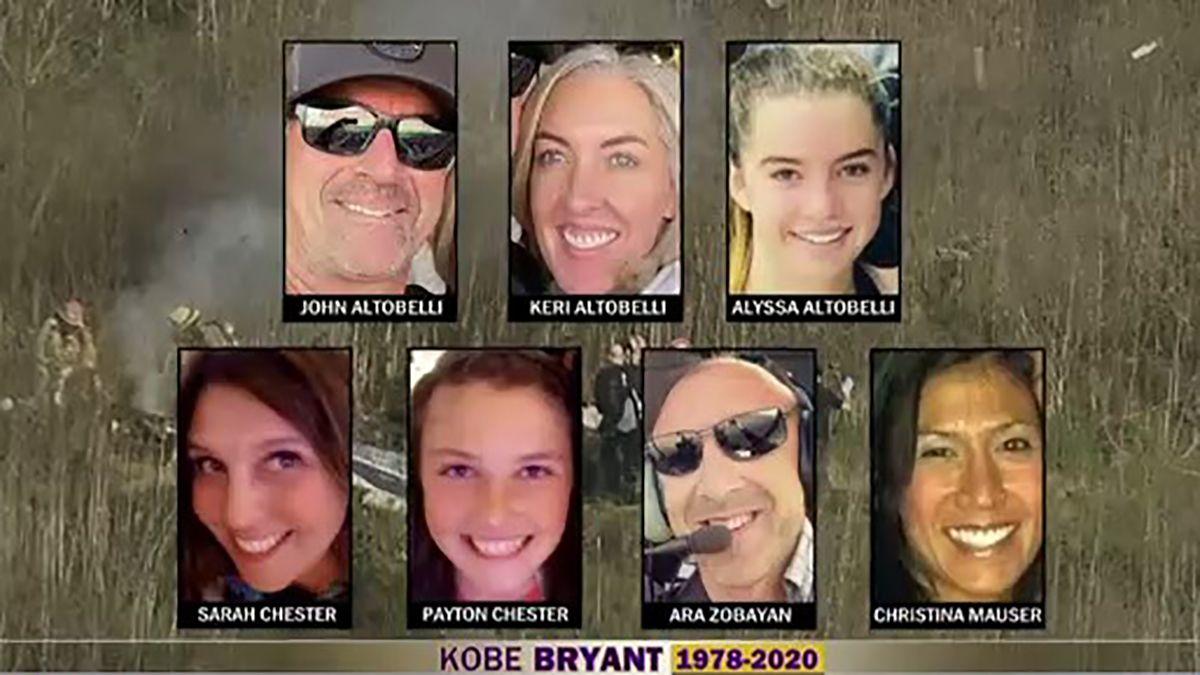 Todas las víctimas del accidente en el que perdió la vida Kobe Bryant.
