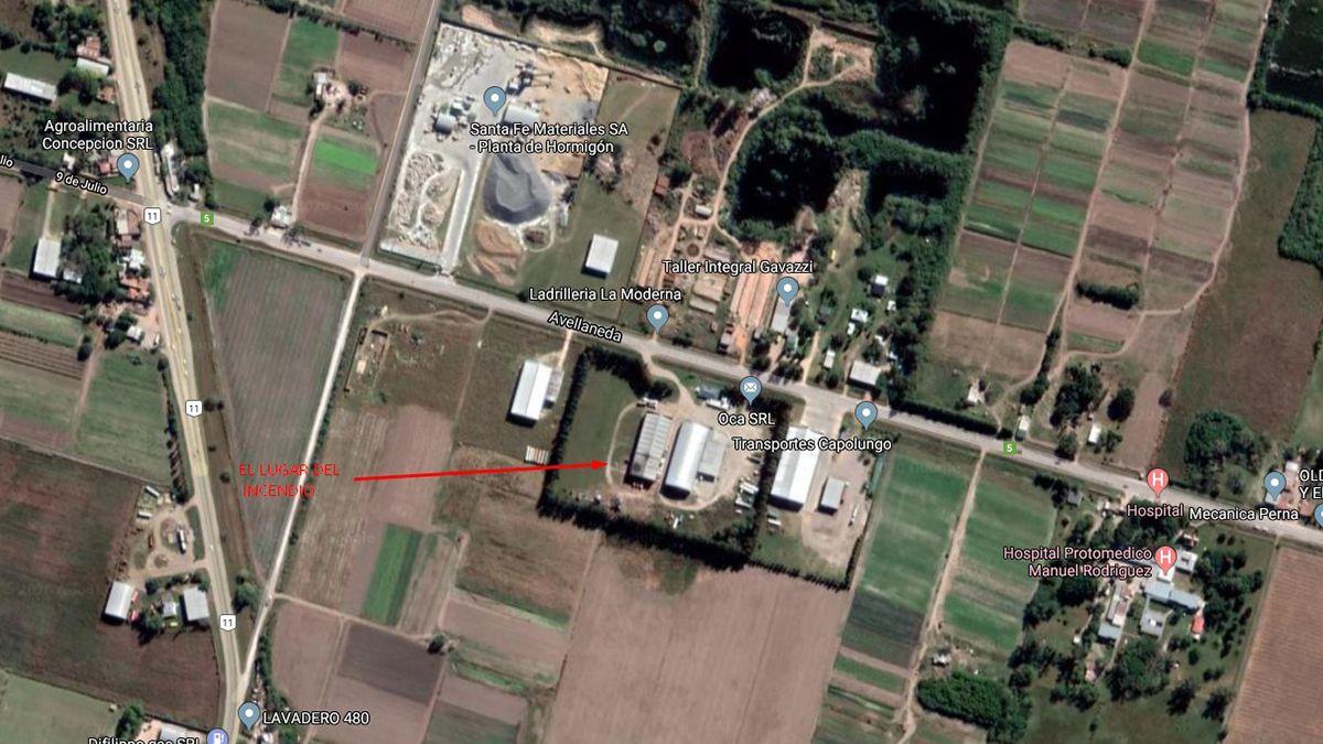 El galpón que se incendió está en la ruta 5, muy cerca del tramo de la ruta nacional 11 que atraviesa Recreo.