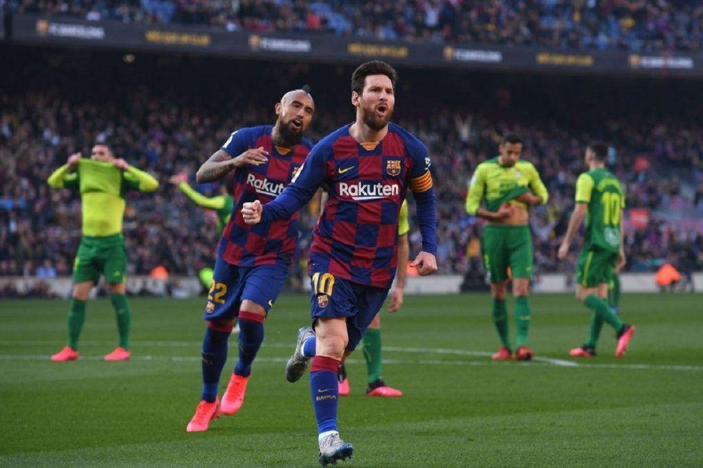 Con cuatro goles de Messi, Barcelona goleó al Eibar por la liga de España
