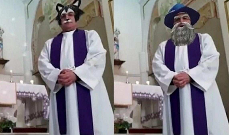 Un sacerdote olvidó desactivar los filtros de Facebook durante una misa en vivo