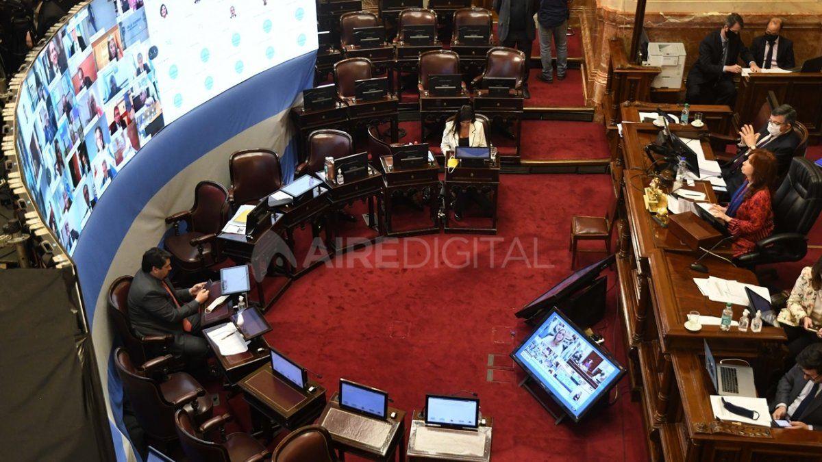 El Senado de la Nación sesiona virtualmente por la pandemia.