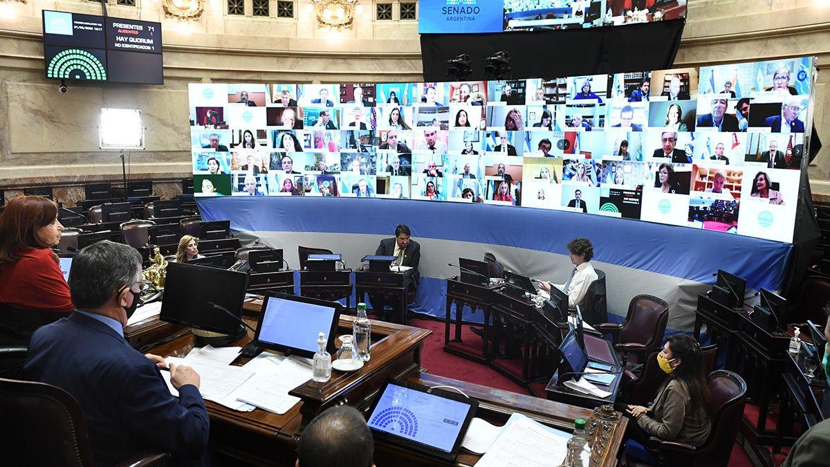 Sesión remota en el recinto del Senado de la Nación