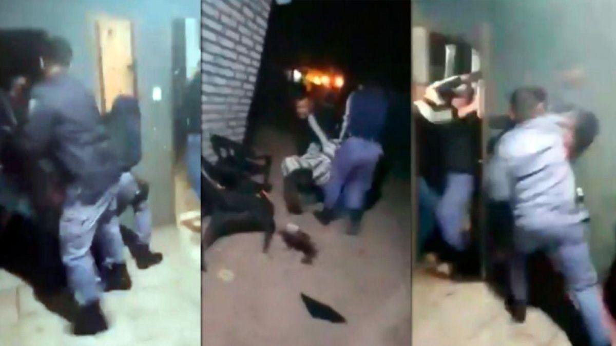 Capturas del video que muestra como efectivos policiales de Chaco irrumpieron en la casa de una familia Qom y los golpearon brutalmente.