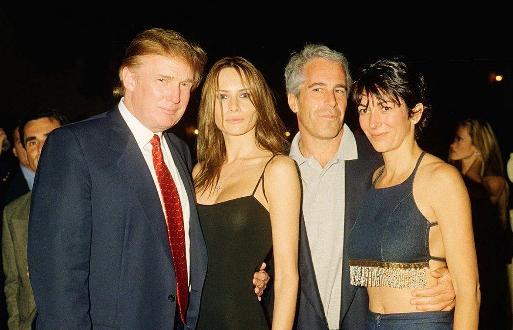 Jeffrey Epstein y su esposa, junto a Donald Trump