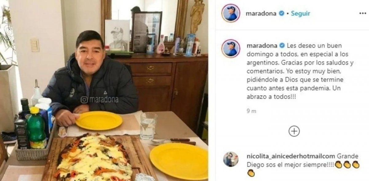El mensaje de Diego Maradona a los argentinos en su cuenta de Instagram