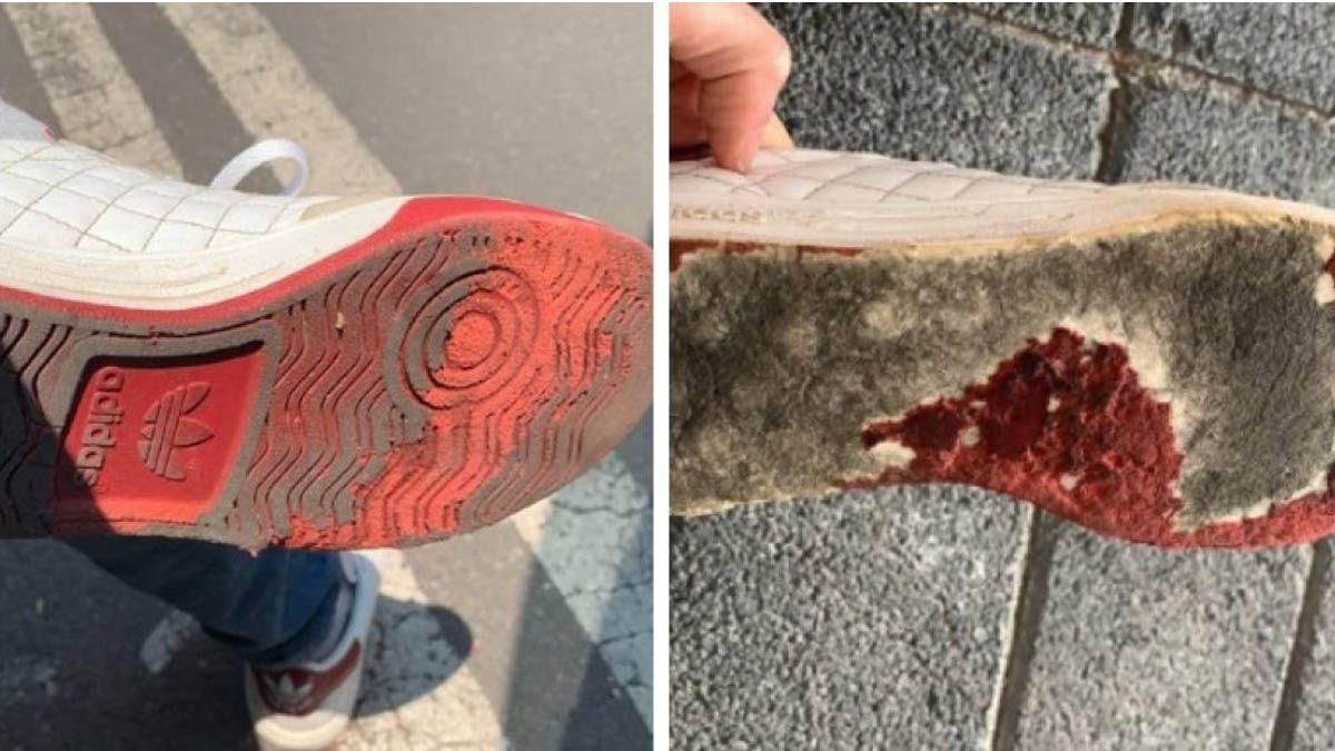 Pasó por una alfombra con sustancia para desinfectar y se quedó sin zapatillas