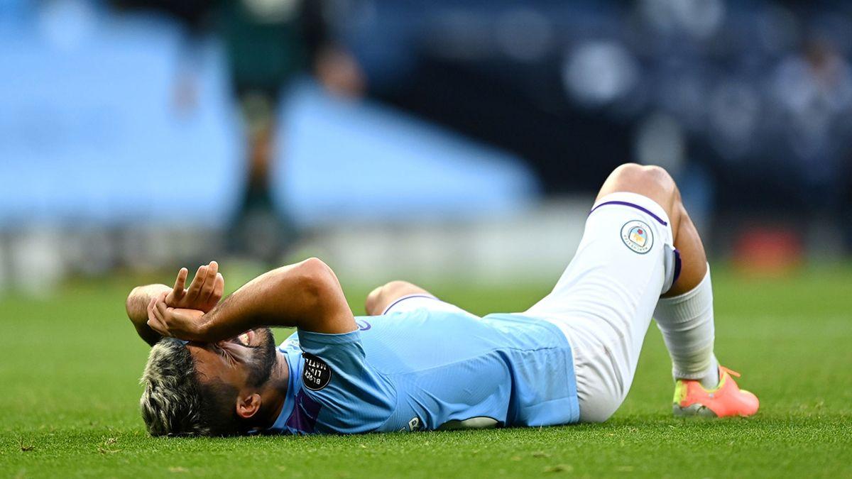 El delantero argentino debió salir sustituido antes del final del primer tiempo del encuentro entre el Manchester City y el Burnley.