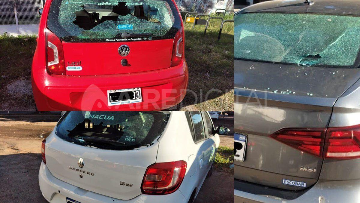 Un hombre rompió a palazos los parabrisas de varios autos