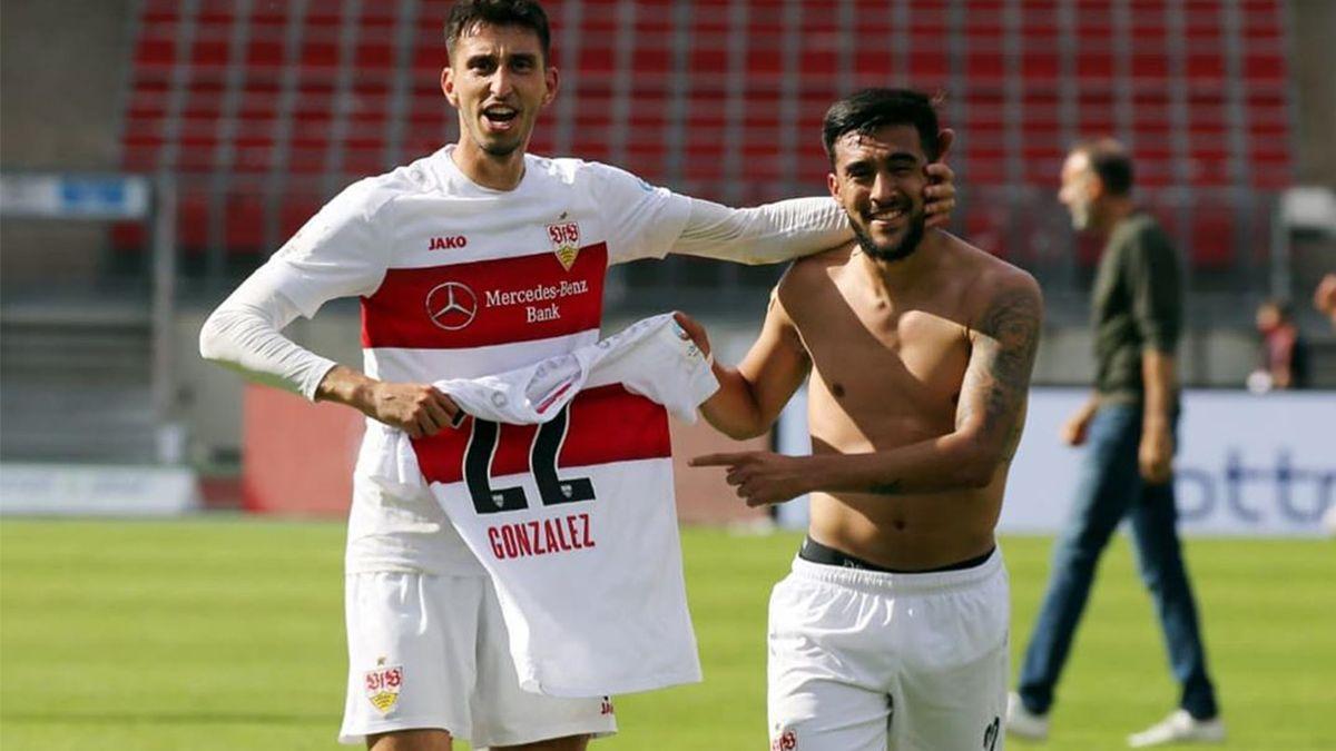 El delantero formado en Argentinos Juniors (en la derecha) fue el goleador del Stuttgart que logró retornar a la máxima división del fútbol alemán.