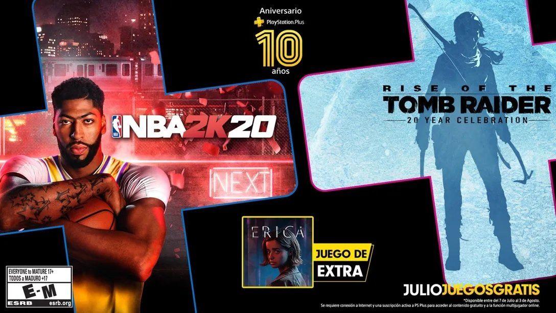 Los juegos por los 10 años de Playstation Plus: Rise of the Tomb Raider y NBA2K20.