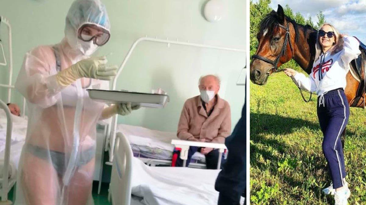 La enfermera rusa que atendió a los pacientes con coronavirus en ropa interior por el calor.