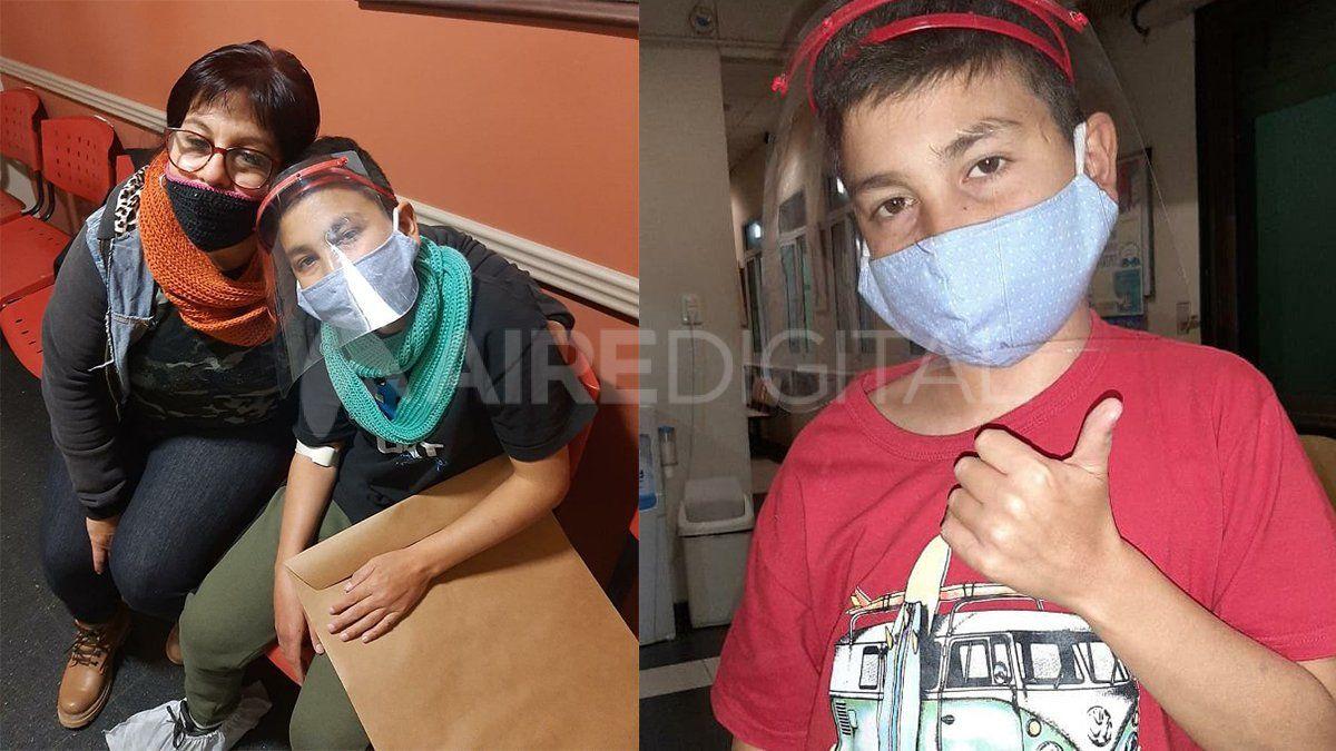 Lucho junto a su madre antes de ser intervenido quirúrgicamente