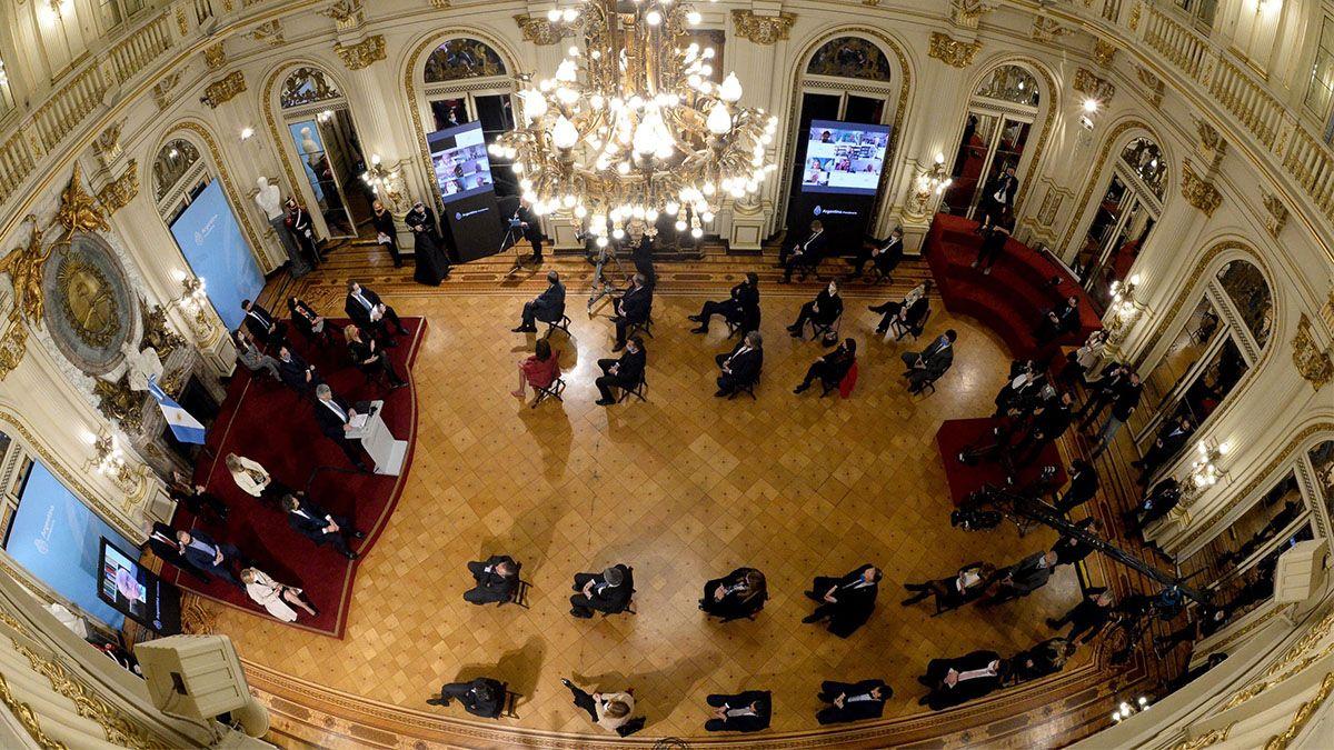 El presidente Alberto Fernández encabezó el anuncio de la reforma judicial en la casa Rosada.