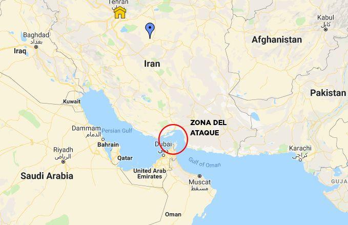 Mapa ataque golfo pérsico