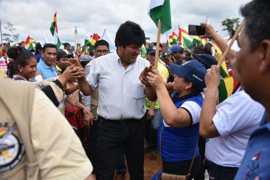Morales en la inauguración del Puente Madre de Dios en Pando, el 5 de octubre. Twitter.