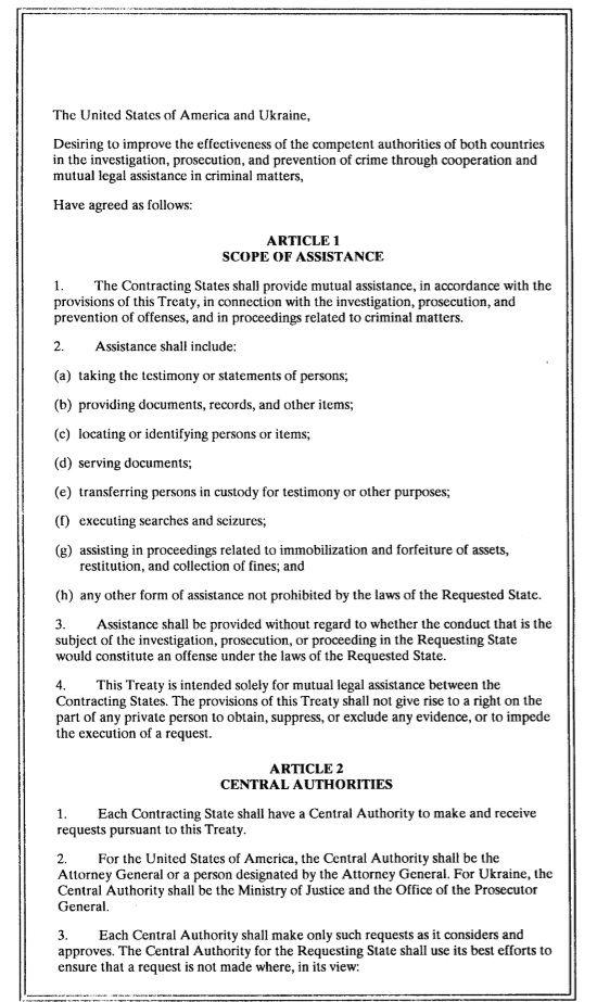 Sexta hoja del acuerdo entre Estados Unidos y Ucrania firmado en 1998.
