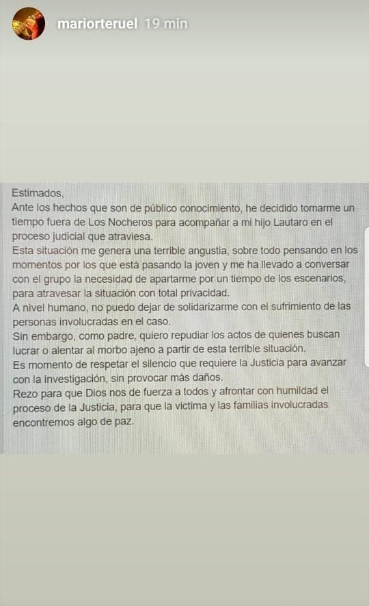 """Mario Teruel abandona """"Los Nocheros"""" tras la detención de su hijo"""
