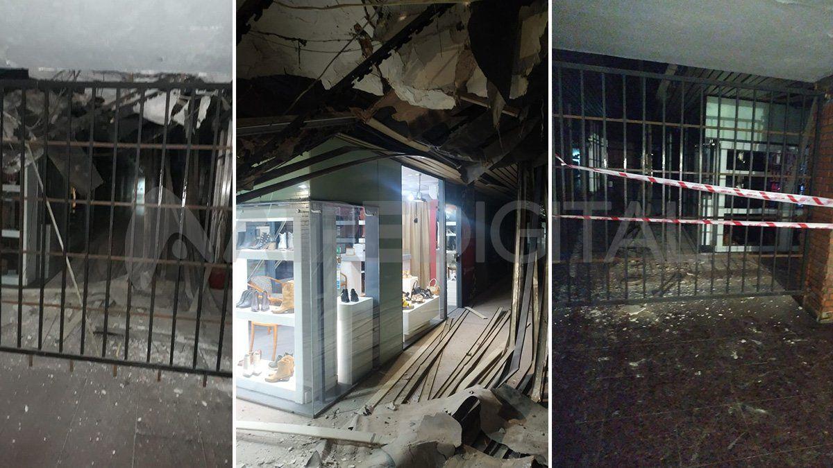 Se derrumbó parte del techo en una galería de la peatonal santafesina