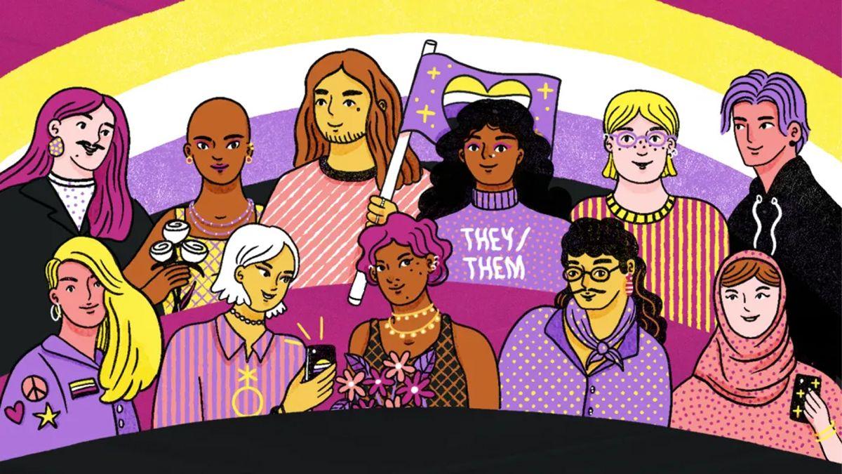El género no binario describe a una persona cuya identidad de género no es ni hombre ni mujer.