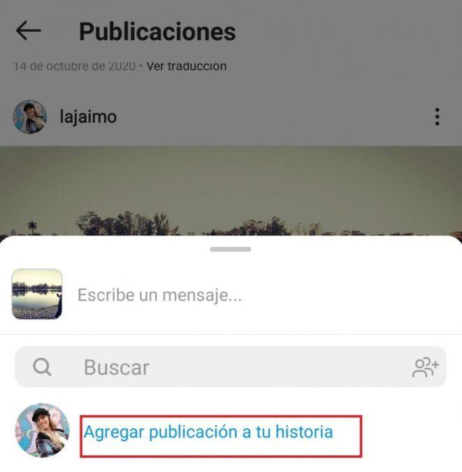 """La plataforma vuelve a habilitar la opción de """"Agregar publicación a tu historia""""."""