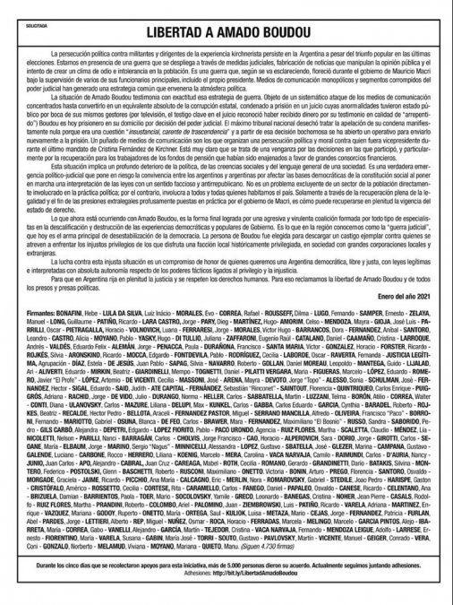Funcionarios del Gobierno y dirigentes de la región, piden la libertad de Boudou