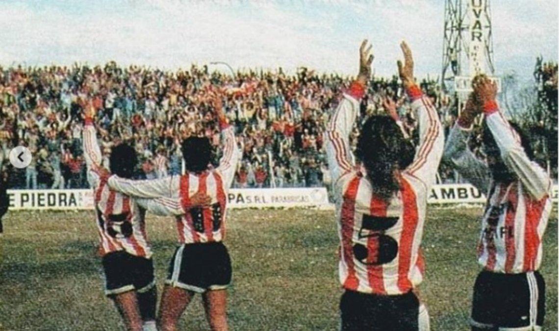 Los jugadores tatengues celebran la victoria ante Colón en la primera final del ascenso