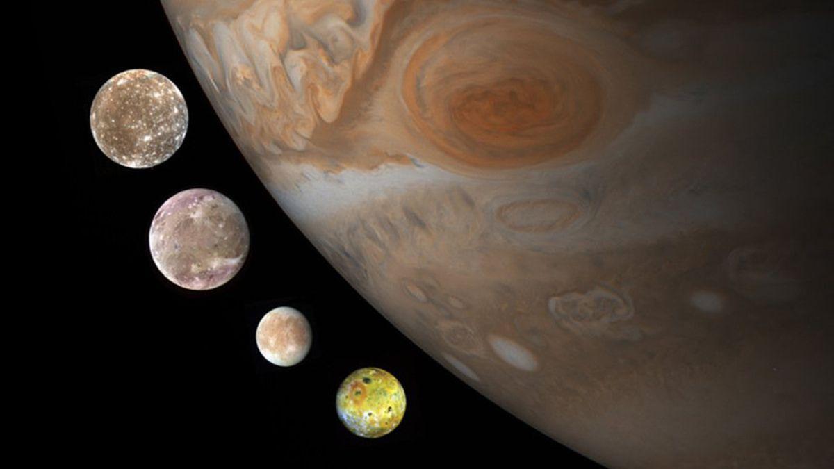 Ilustración de las lunas halladas por Galileo en Júpiter: Europa