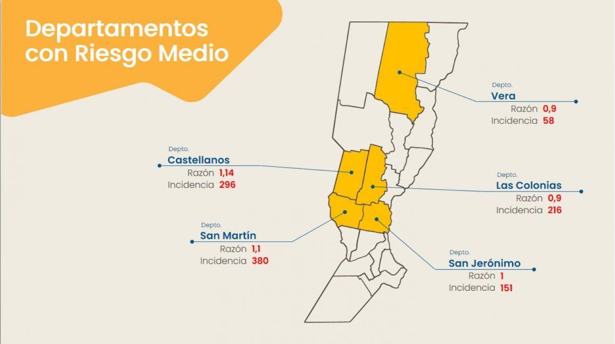Departamentos santafesinos con riesgo medio. Informe del Ministerio de Salud de la provincia de Santa Fe con datos actualizados al 7 de abril.