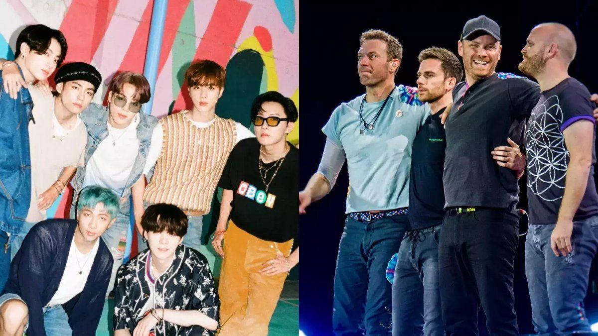La banda Coldplay y el famosísimo grupo de Kpop