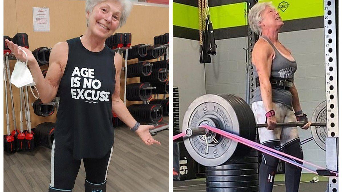 Una mujer de 71 años rompe récords levantando pesas