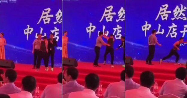 El impresionante momento en el que apuñalan varias veces a un famoso actor chino en un evento