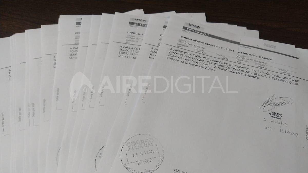 Algunos de los telegramas que recibieron los trabajadores de la obra de la autovía de la ruta 1.
