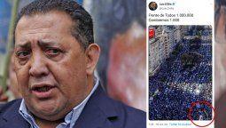 No es la primera vez que el piquetero, Luis DElía comete errores en sus posteos en Twitter. Esta vez, el inflable de Cristina Kirchner lo delató.