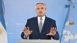 """El presidente Alberto Fernández reclamó este martes la necesidad de una """"reconfiguración de la arquitectura financiera global"""", al participar de manera virtual de la Asamblea General de la Organización de las Naciones Unidas (ONU)."""