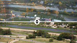 El antes y el después del Riacho Santa Fe, dañado por la obra no autorizada. La Provincia fijó un plazo de 15 días para los trabajos que deberá realizar el dueño del predio.