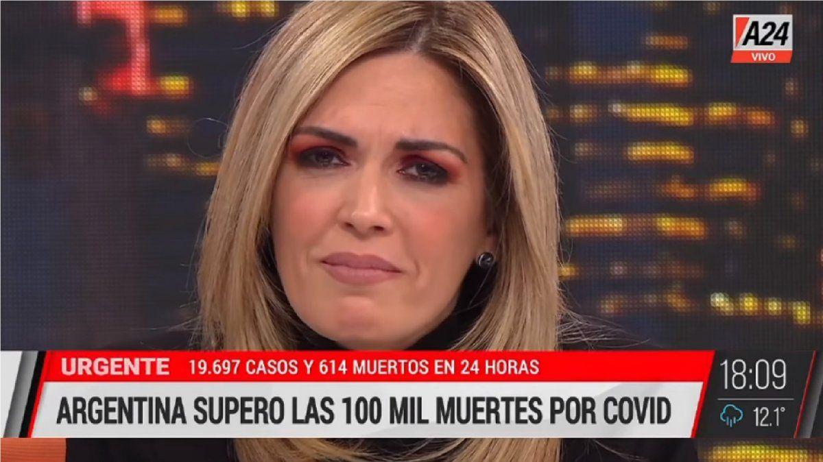 Viviana Canosa rompió en llanto por los 100.000 muertos de coronavirus y destrozó a Alberto Fernández