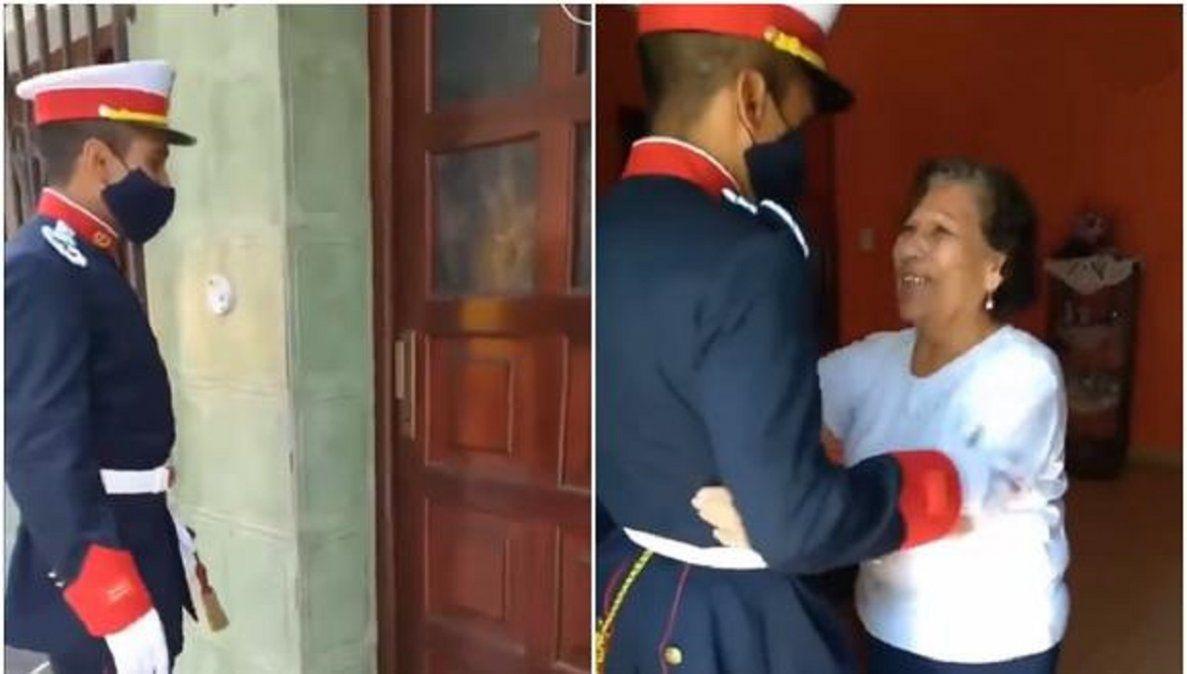 Video viral: la emoción de una abuela al ver por primera vez a su nieto con uniforme militar.