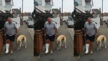 Hizo examinar a su perro por una renguera que tenía y descubrieron que imitaba a su dueño