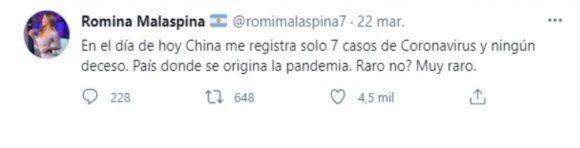 """Romina Malaspina generó polémica con su teoría conspirativa sobre el """"origen"""" del coronavirus"""