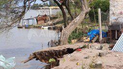 Este viernes se realizarontareas de verificación y evaluación de la zona afectada por los derrumbes en la barranca del río Coronda que provocó la evacuación de 11 familias