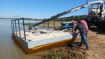 Bajante: Aguas Santafesinas refuerza la toma del río Ubajay con nuevas bombas sumergibles