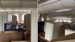 Video viral: un hombre fue el único pasajero en un vuelo comercial.
