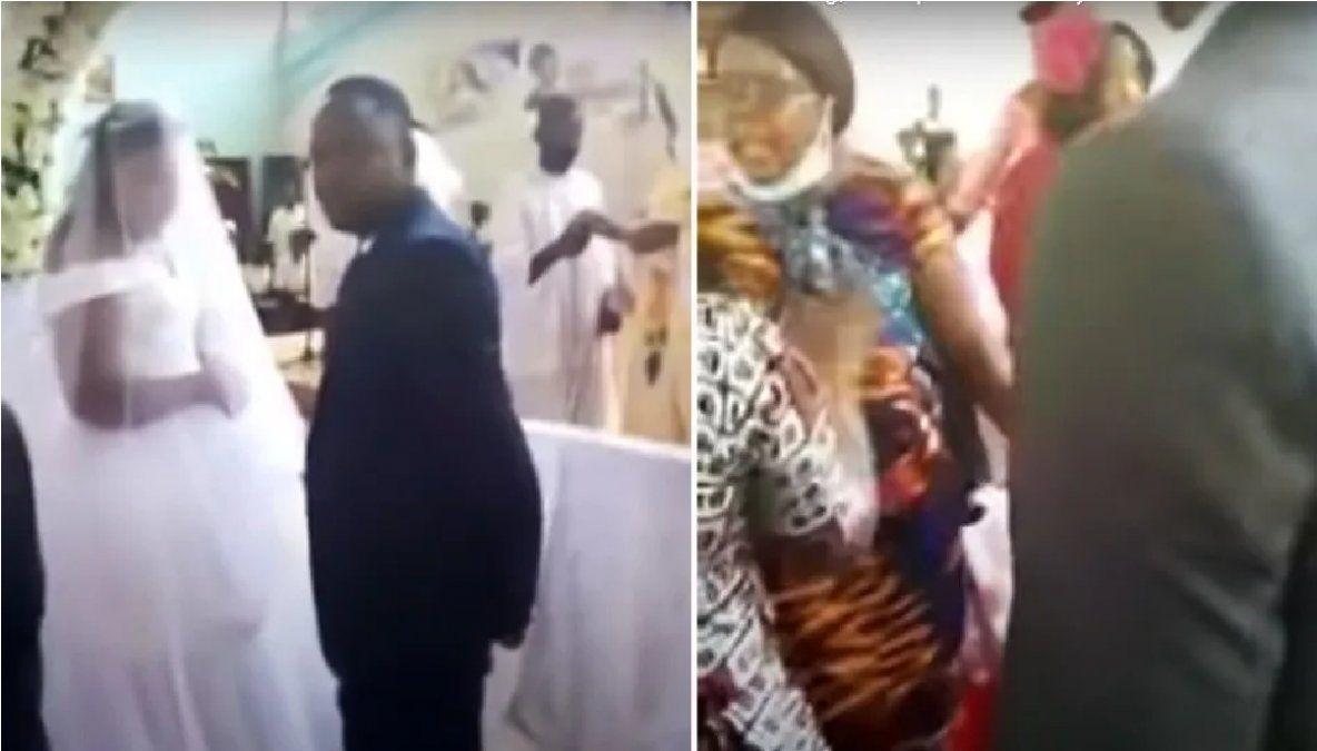 Su esposa lo sorprendió cuando se estaba casando con otra y le arruinó la fiesta