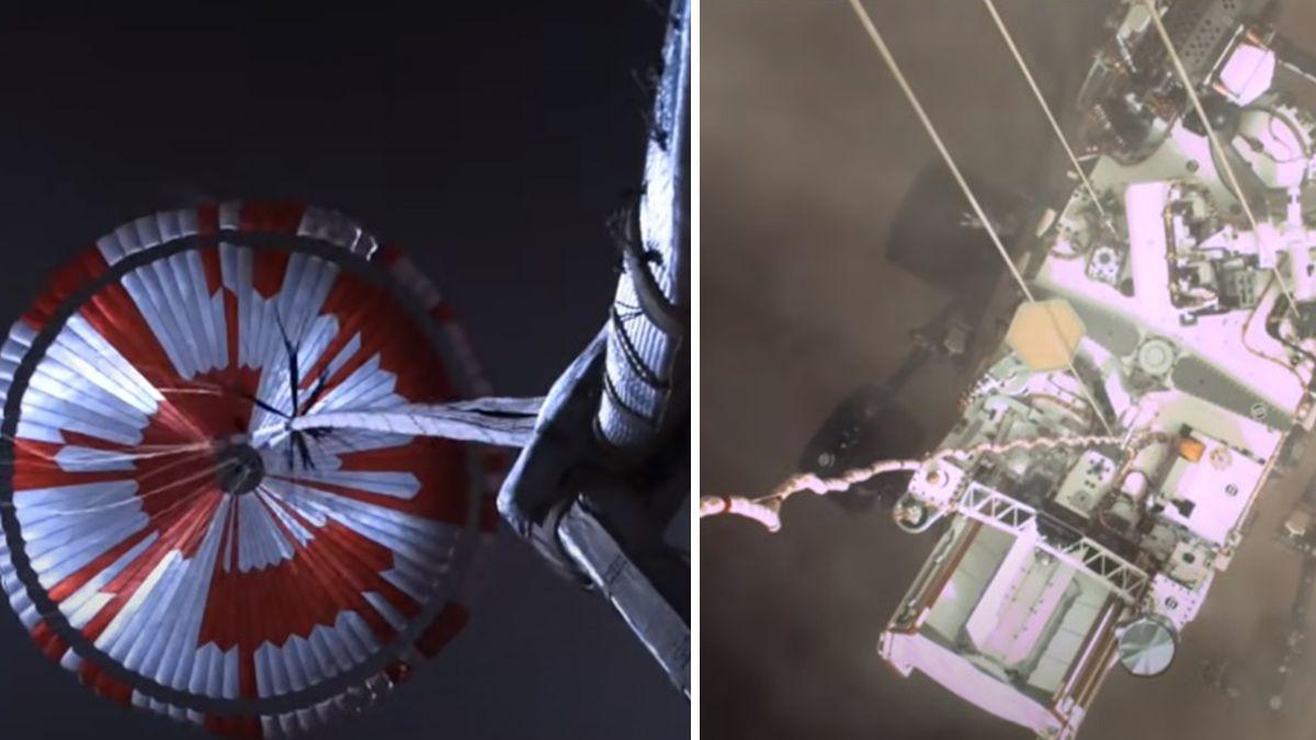 Izq: el paracaídas del rover abierto en el descenso